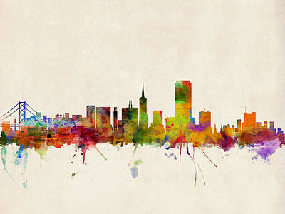 Travel Poster Digital Art - San Francisco City Skyline by Michael Tompsett