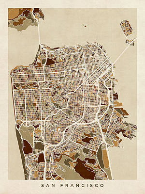 United States Map Digital Art - San Francisco City Street Map by Michael Tompsett