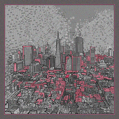 Abstract Map Digital Art - San Francisco Cityscape 2 by Bekim Art