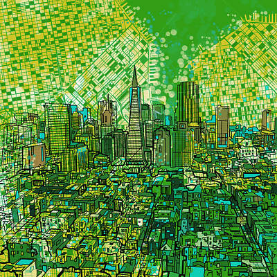 Abstract Map Painting - San Francisco Cityscape 3 by Bekim Art