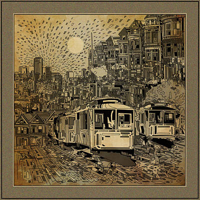 Abstract Map Digital Art - San Francisco Cityscape Vintage by Bekim Art