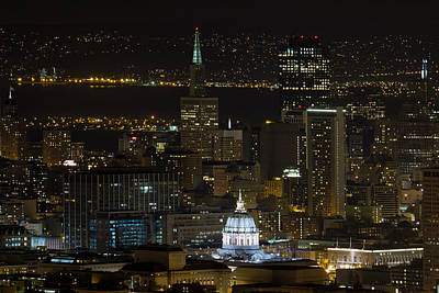 San Francisco Cityscape With City Hall At Night Art Print by David Gn