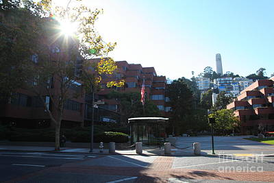 San Francisco Coit Tower At Levis Plaza 5d26189 Art Print by Wingsdomain Art and Photography