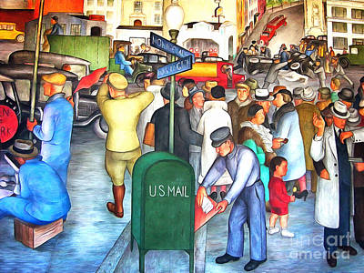 Wingsdomain Painting - San Francisco Coit Tower Mural 20141005 V2 by Wingsdomain Art and Photography