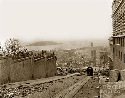 Photograph - Looking Down Sacramento St. San Francisco Earthquake And Fire Of April 18 1906 by California Views Archives Mr Pat Hathaway Archives