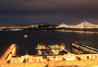 San Francisco Embarccadero And Bay Bridge Lights Art Print by Ron McMath