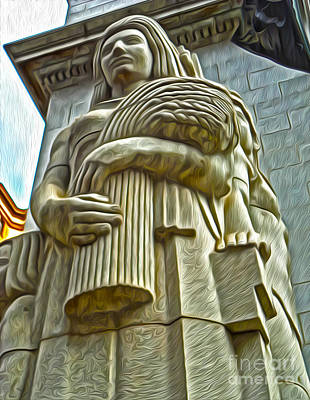 San Francisco - Financial District Statue - 04 Print by Gregory Dyer