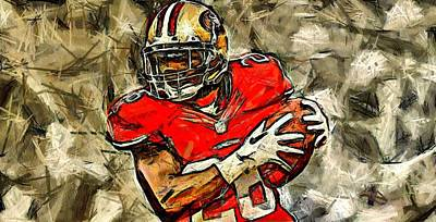 San Francisco Football Player Art Print by Carrie OBrien Sibley