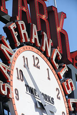 San Francisco Giants Baseball Scoreboard And Clock 5d28235 Art Print by Wingsdomain Art and Photography