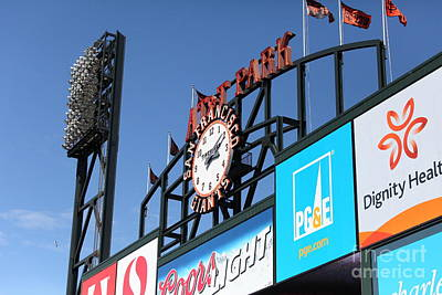 San Francisco Giants Baseball Scoreboard And Clock 5d28240 Art Print by Wingsdomain Art and Photography