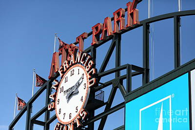 San Francisco Giants Baseball Scoreboard And Clock 5d28243 Art Print by Wingsdomain Art and Photography