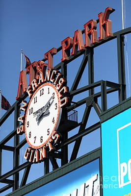 San Francisco Giants Baseball Scoreboard And Clock 5d28244 Art Print by Wingsdomain Art and Photography