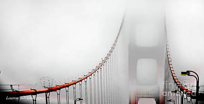Photograph - San Francisco Golden Gate Bridge In The Fog by Artist and Photographer Laura Wrede