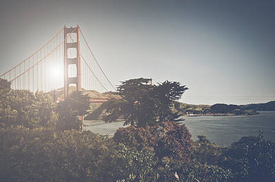 Golden Gate Bridge Photograph - San Francisco Golden Gate Bridge Retro Instagram Film Style by Brandon Bourdages