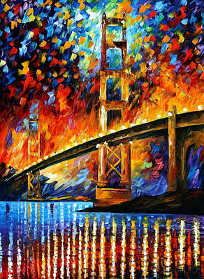 Free Painting - San Francisco-golden Gate - Palette Knife Oil Painting On Canvas By Leonid Afremov by Leonid Afremov