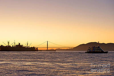 Photograph - San Francisco Harbor Golden Gate Bridge At Sunset by Artist and Photographer Laura Wrede