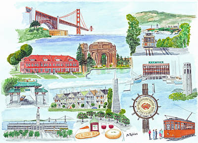 Painting - San Francisco Highlights Montage by Mike Robles