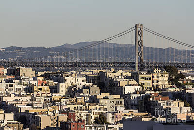 San Francisco Hillside Homes And Bay Bridge. Art Print by Trekkerimages Photography