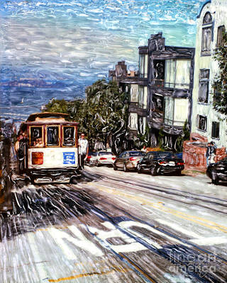 Mixed Media - San Francisco Hyde Street Cable Car by Glenn McNary