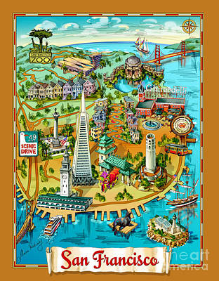 Tourist Attraction Drawing - San Francisco Illustrated Map by Maria Rabinky