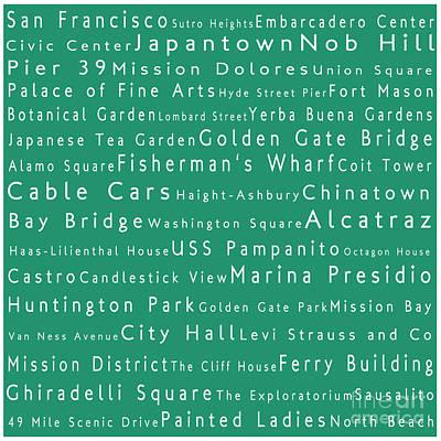 San Francisco In Words Algae Art Print by Sabine Jacobs