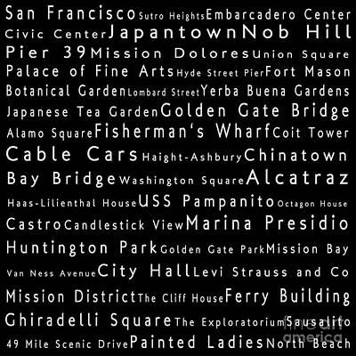 San Francisco In Words Black Art Print by Sabine Jacobs