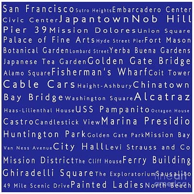 San Francisco In Words Blue Art Print