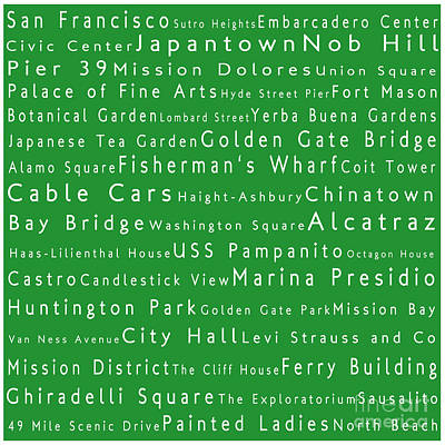 San Francisco In Words Green Art Print