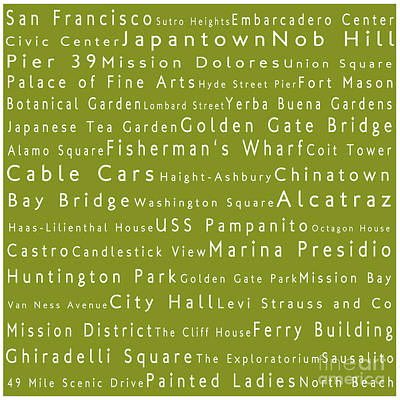 San Francisco In Words Olive Art Print by Sabine Jacobs