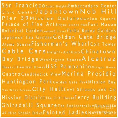 San Francisco In Words Orange Art Print by Sabine Jacobs