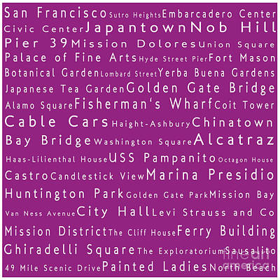 Scifi Portrait Collection - San Francisco in Words Pink by Sabine Jacobs
