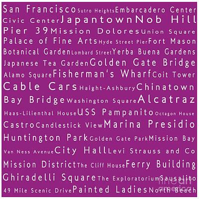 San Francisco In Words Pink Art Print by Sabine Jacobs