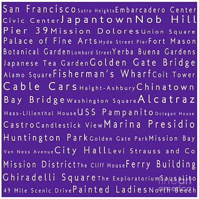 San Francisco In Words Purple Art Print by Sabine Jacobs