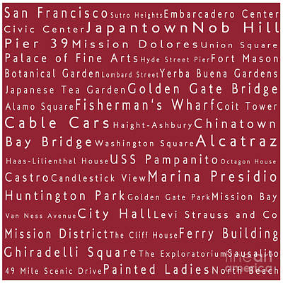San Francisco In Words Red Art Print by Sabine Jacobs