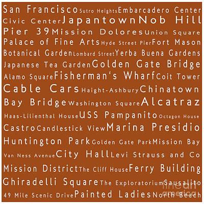 San Francisco In Words Toffee Art Print by Sabine Jacobs