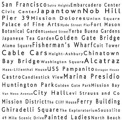 San Francisco In Words White Art Print by Sabine Jacobs