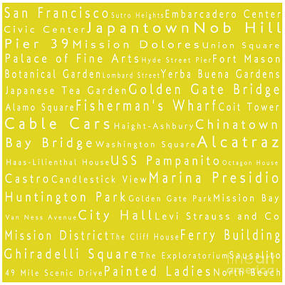 San Francisco In Words Yellow Art Print by Sabine Jacobs