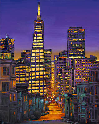 City Skyline Wall Art - Painting - San Francisco by Johnathan Harris