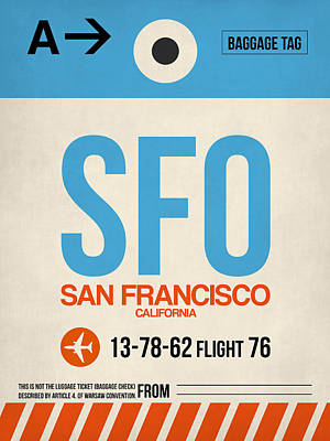 San Francisco Digital Art - San Francisco Luggage Tag Poster 1 by Naxart Studio