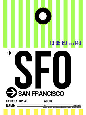 Celebrate Digital Art - San Francisco Luggage Tag Poster 2 by Naxart Studio