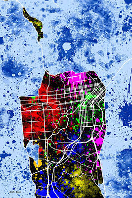 San Francisco Financial District Digital Art - San Francisco Map by Stephen Younts