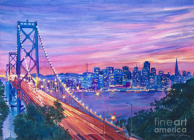 Landmarks Painting Royalty Free Images - San Francisco Nights Royalty-Free Image by David Lloyd Glover