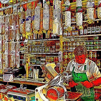 Big Wine Photograph - San Francisco North Beach Deli 20130505v2 Square by Wingsdomain Art and Photography