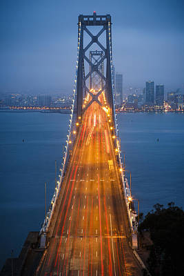 Central Coast Photograph - San Francisco - Oakland Bay Bridge by Adam Romanowicz