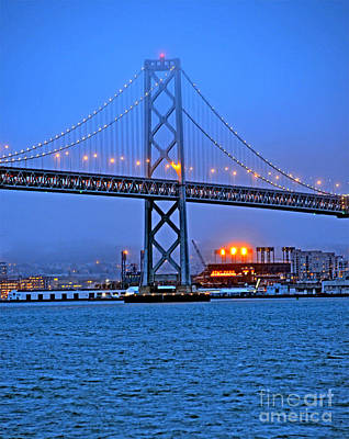 Photograph - San Francisco Oakland Bay Bridge At Night by Jim Fitzpatrick