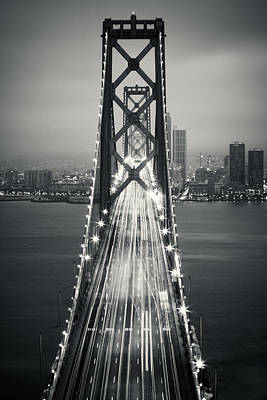 Downtown San Francisco Photograph - San Francisco - Oakland Bay Bridge Bw by Adam Romanowicz
