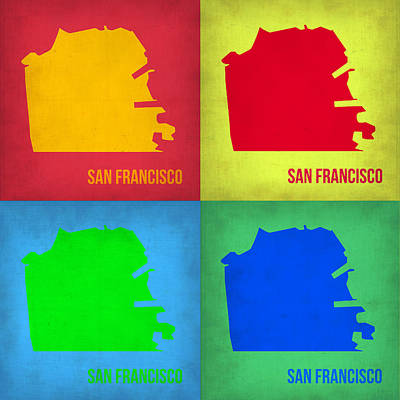 Pop Art Digital Art - San Francisco Pop Art Map 1 by Naxart Studio