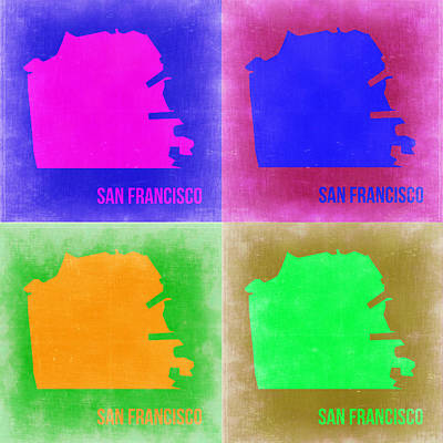 California Maps Painting - San Francisco Pop Art Map 2 by Naxart Studio