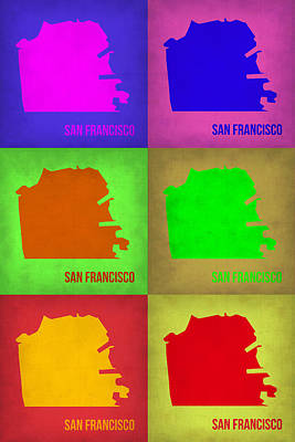 California Maps Painting - San Francisco Pop Art Map 3 by Naxart Studio