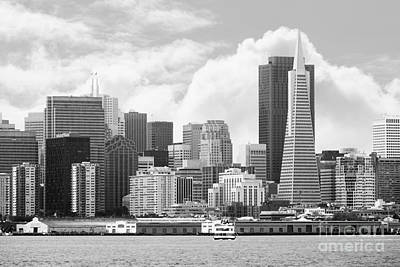 Photograph - San Francisco Skyline Along The Embarcadero 5d29399 Black And White by Wingsdomain Art and Photography